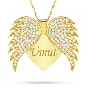 14K Solid Gold Name Heart Wing Cubic Zirconia Necklace