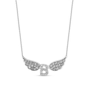 14K Solid Gold Modern Design Initial Wing Cubic Zirconia Necklace