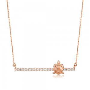 14K Solid Gold 3D Bar Turtle Cubic Zirconia Necklace