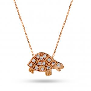 14K Solid Gold Turtle Cubic Zirconia Necklace