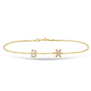 14K Solid Gold Modern Design Initial Snow Flake Cubic Zirconia Bracelet