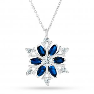 10K Solid Gold Modern Design Snow Flake Cubic Zirconia Necklace