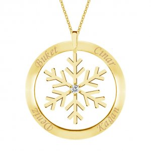 14K Solid Gold Ring Name Snow Flake Cubic Zirconia Necklace