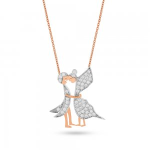 14K Solid Gold Modern Design Butterfly Cubic Zirconia Necklace