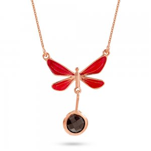 14K Solid Gold Enamel Butterfly Cubic Zirconia Necklace