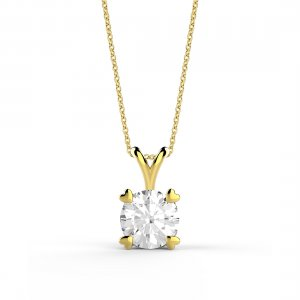 14K Solid Gold Solitaire Classic Cubic Zirconia Necklace