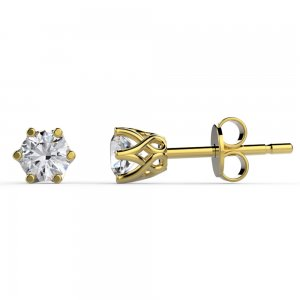 14K Solid Gold Solitaire Classic Cubic Zirconia Earring
