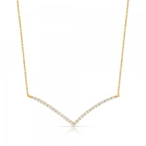 14K Solid Gold 3D Bar Cubic Zirconia Necklace