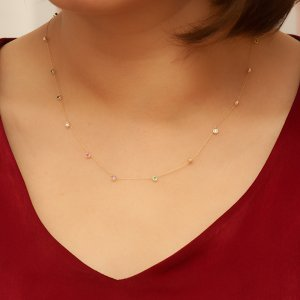 14K Solid Gold Cubic Zirconia Necklace