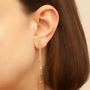 14K Solid Gold Cubic Zirconia Earring