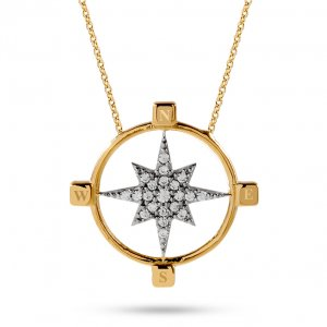 14K Solid Gold Pole Star Cubic Zirconia Necklace