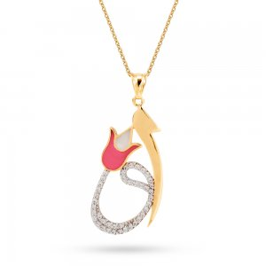 14K Solid Gold Enamel Tulip Vav Cubic Zirconia Necklace