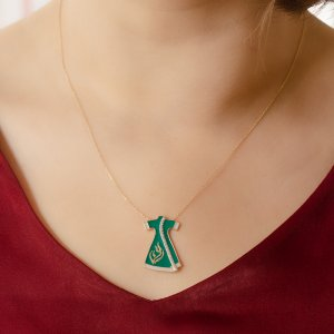 14K Solid Gold Enamel Tulip Cubic Zirconia Necklace