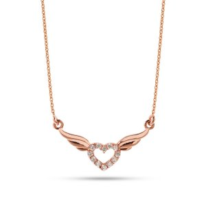 14K Solid Gold Heart Wing Cubic Zirconia Necklace