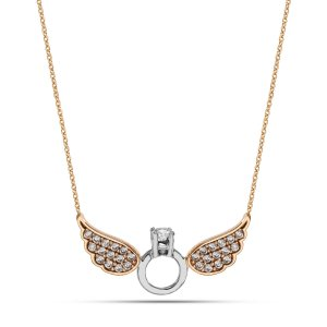 14K Solid Gold Wing Cubic Zirconia Necklace