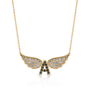 14K Solid Gold Initial Wing Cubic Zirconia Necklace