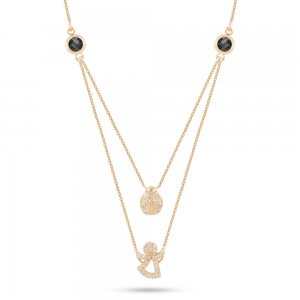 14K Solid Gold Angel Ladybug Cubic Zirconia Necklace