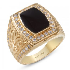 14K Solid Gold Enamel Cubic Zirconia Ring