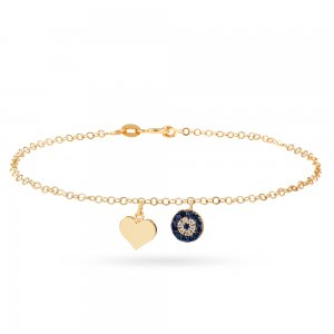14K Solid Gold Heart Evil Eye Cubic Zirconia Bracelet