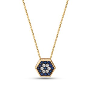 14K Solid Gold Modern Design Evil Eye Cubic Zirconia Necklace
