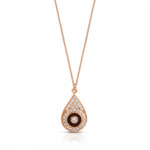 14K Solid Gold Enamel Evil Eye Cubic Zirconia Necklace
