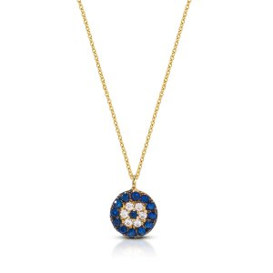 10K Solid Gold Modern Design Evil Eye Cubic Zirconia Necklace