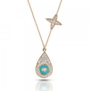 14K Solid Gold Enamel Evil Eye Star Cubic Zirconia Necklace