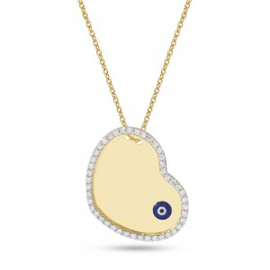 14K Solid Gold Initial Name Heart Evil Eye Medallion Cubic Zirconia Necklace