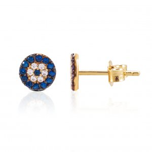 10K Solid Gold Modern Design Evil Eye Cubic Zirconia Earring