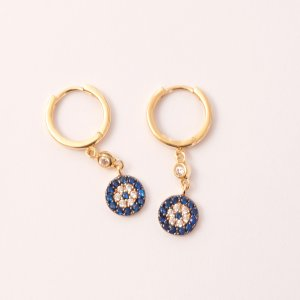 14K Solid Gold Ring Evil Eye Cubic Zirconia Earring