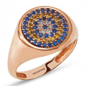 14K Solid Gold Modern Design Evil Eye Cubic Zirconia Ring