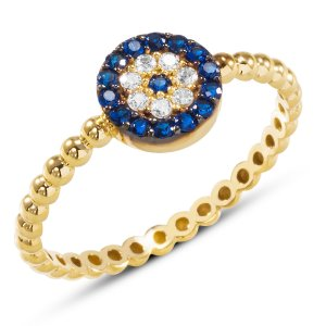 10K Solid Gold Modern Design Evil Eye Cubic Zirconia Ring