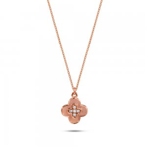 14K Solid Gold Enamel Daisy Cubic Zirconia Necklace