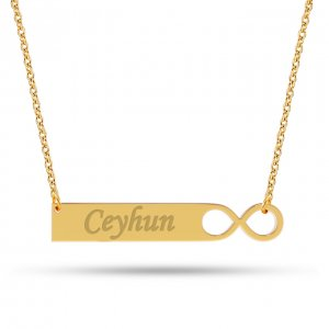 14K Solid Gold Name Infinity Medallion Necklace