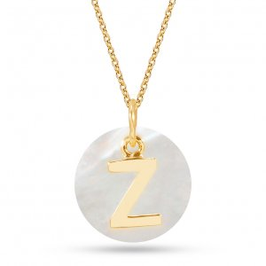 14K Solid Gold Initial Mother of Pearl Necklace