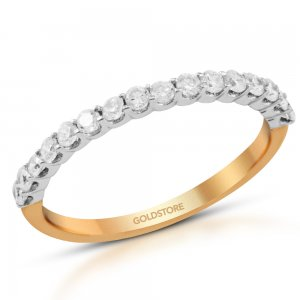 14K Solid Gold Half Eternity Cubic Zirconia Ring