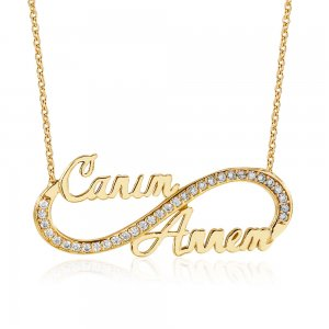 10K Solid Gold Modern Design Infinity Cubic Zirconia Necklace