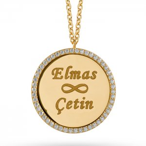 14K Solid Gold Name Infinity Locket Medallion Cubic Zirconia Necklace