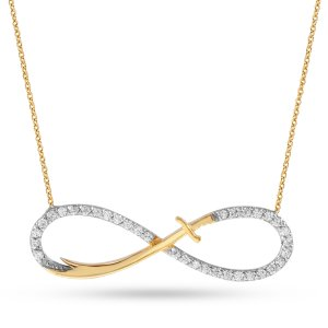14K Solid Gold Infinity Sword Zulfikar Cubic Zirconia Necklace