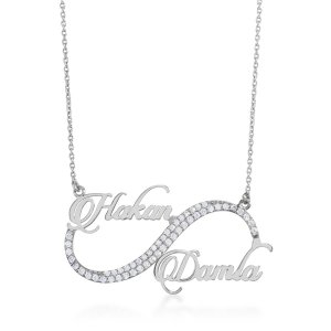 14K Solid Gold Name Infinity Cubic Zirconia Necklace