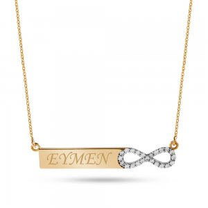 14K Solid Gold Name Infinity Medallion Cubic Zirconia Necklace