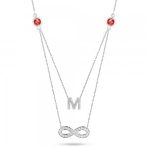 14K Solid Gold Initial Infinity Cubic Zirconia Necklace