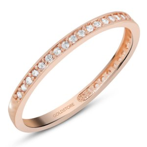 14K Solid Gold Eternity Cubic Zirconia Ring
