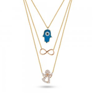 14K Solid Gold Enamel Angel Infinity Hamsa Palm Cubic Zirconia Necklace