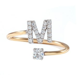 14K Solid Gold Initial Solitaire Like Cubic Zirconia Ring