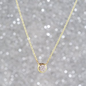 14K Solid Gold Solitaire Cubic Zirconia Necklace