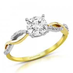 10K Solid Gold Solitaire Cubic Zirconia Ring