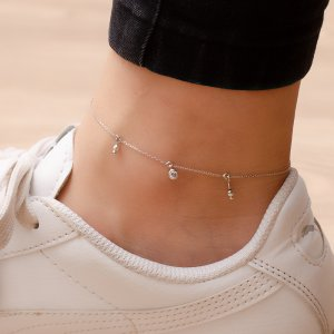 14K Solid Gold Drop Dangle Ball Cubic Zirconia Anklet