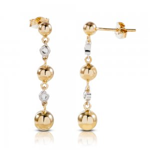 14K Solid Gold Ball Cubic Zirconia Earring