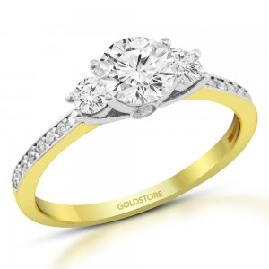 10K Solid Gold 3 Stone Modern Design Cubic Zirconia Ring